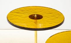 Set of 4 Round Bronze and Green Murano Glass and Brass Side Tables Italy 2021 - 2004454