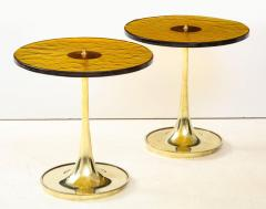 Set of 4 Round Bronze and Green Murano Glass and Brass Side Tables Italy 2021 - 2004456