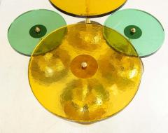 Set of 4 Round Bronze and Green Murano Glass and Brass Side Tables Italy 2021 - 2004457