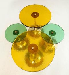 Set of 4 Round Bronze and Green Murano Glass and Brass Side Tables Italy 2021 - 2004458