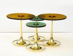 Set of 4 Round Bronze and Green Murano Glass and Brass Side Tables Italy 2021 - 2004459
