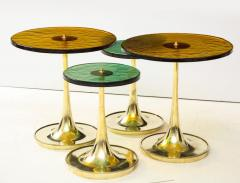 Set of 4 Round Bronze and Green Murano Glass and Brass Side Tables Italy 2021 - 2004460