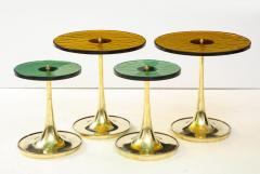 Set of 4 Round Bronze and Green Murano Glass and Brass Side Tables Italy 2021 - 2004461