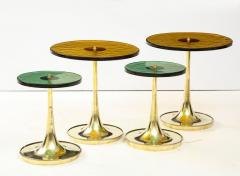 Set of 4 Round Bronze and Green Murano Glass and Brass Side Tables Italy 2021 - 2004462