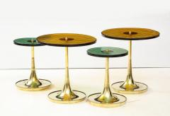 Set of 4 Round Bronze and Green Murano Glass and Brass Side Tables Italy 2021 - 2004463