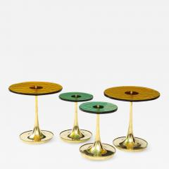 Set of 4 Round Bronze and Green Murano Glass and Brass Side Tables Italy 2021 - 2010045