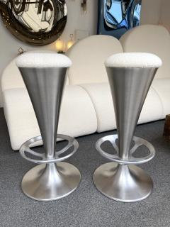 Set of 4 Stainless Steel Cone Bar Stools Italy 1990s - 2074007