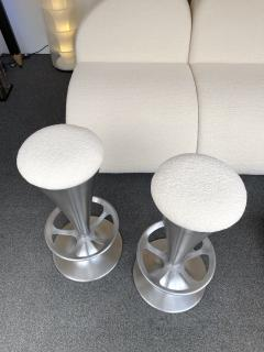 Set of 4 Stainless Steel Cone Bar Stools Italy 1990s - 2074011