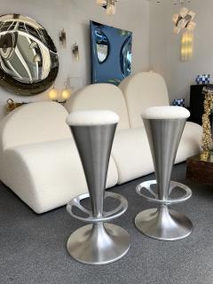 Set of 4 Stainless Steel Cone Bar Stools Italy 1990s - 2074012
