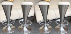 Set of 4 Stainless Steel Cone Bar Stools Italy 1990s - 2074013