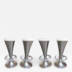 Set of 4 Stainless Steel Cone Bar Stools Italy 1990s - 2075820