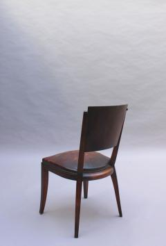 Set of 6 French Art Deco Palissander and Stained Wood Dining Chairs - 2067048