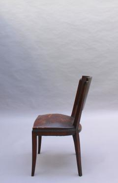 Set of 6 French Art Deco Palissander and Stained Wood Dining Chairs - 2067049