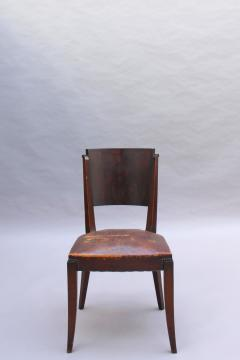 Set of 6 French Art Deco Palissander and Stained Wood Dining Chairs - 2067050