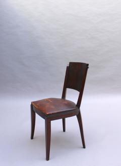 Set of 6 French Art Deco Palissander and Stained Wood Dining Chairs - 2067051