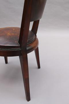 Set of 6 French Art Deco Palissander and Stained Wood Dining Chairs - 2067052