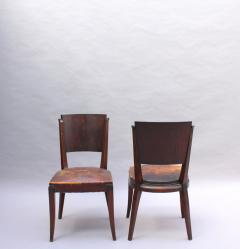 Set of 6 French Art Deco Palissander and Stained Wood Dining Chairs - 2067058