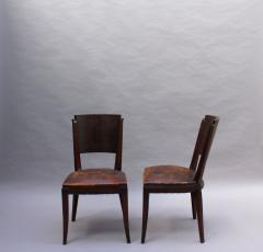 Set of 6 French Art Deco Palissander and Stained Wood Dining Chairs - 2067059