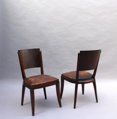 Set of 6 French Art Deco Palissander and Stained Wood Dining Chairs - 2067060