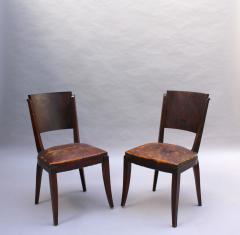 Set of 6 French Art Deco Palissander and Stained Wood Dining Chairs - 2067061