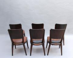 Set of 6 French Art Deco Palissander and Stained Wood Dining Chairs - 2067062