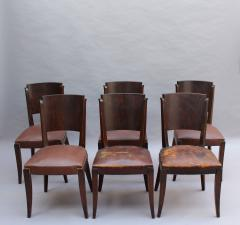 Set of 6 French Art Deco Palissander and Stained Wood Dining Chairs - 2067073