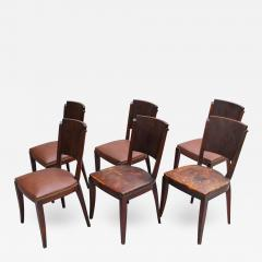 Set of 6 French Art Deco Palissander and Stained Wood Dining Chairs - 2068767