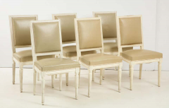 Set of 6 Louis XVI Style Dining Chairs in a Taupe Leather - 1539032