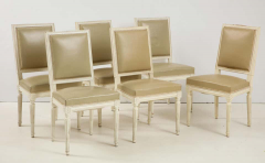 Set of 6 Louis XVI Style Dining Chairs in a Taupe Leather - 1539033