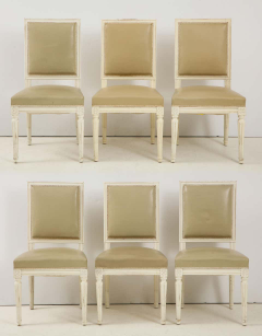 Set of 6 Louis XVI Style Dining Chairs in a Taupe Leather - 1539034