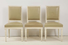 Set of 6 Louis XVI Style Dining Chairs in a Taupe Leather - 1539035