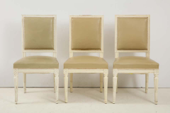 Set of 6 Louis XVI Style Dining Chairs in a Taupe Leather - 1539038