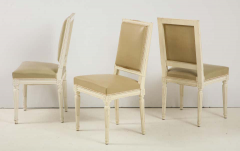 Set of 6 Louis XVI Style Dining Chairs in a Taupe Leather - 1539042