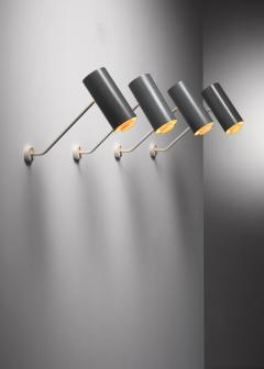 Set of 6 Modernist metal wall or ceiling spots - 1702250