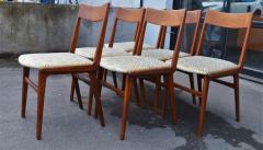 Set of 6 Quick Flip Boomerang Teak Dining Chairs w Graphic Seats - 2126638