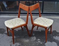 Set of 6 Quick Flip Boomerang Teak Dining Chairs w Graphic Seats - 2126643