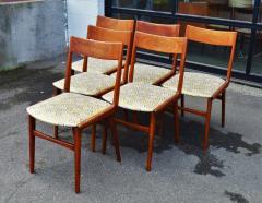 Set of 6 Quick Flip Boomerang Teak Dining Chairs w Graphic Seats - 2126647