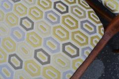 Set of 6 Quick Flip Boomerang Teak Dining Chairs w Graphic Seats - 2126652