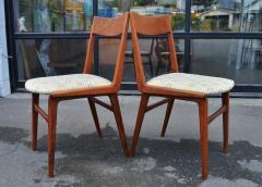 Set of 6 Quick Flip Boomerang Teak Dining Chairs w Graphic Seats - 2126655