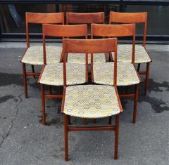Set of 6 Quick Flip Boomerang Teak Dining Chairs w Graphic Seats - 2126659