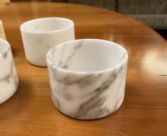 Set of 6 Short Carrara Marble Glasses Italy - 1591335