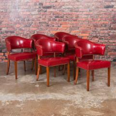 Set of 6 Vintage Red Leather Barrel Back Side Chairs Danish 1950s - 921236