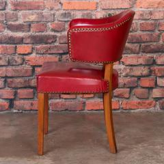 Set of 6 Vintage Red Leather Barrel Back Side Chairs Danish 1950s - 921256
