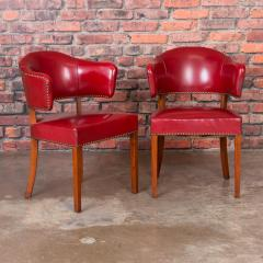 Set of 6 Vintage Red Leather Barrel Back Side Chairs Danish 1950s - 921257