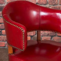 Set of 6 Vintage Red Leather Barrel Back Side Chairs Danish 1950s - 921258
