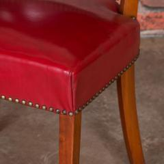 Set of 6 Vintage Red Leather Barrel Back Side Chairs Danish 1950s - 921259