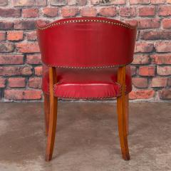 Set of 6 Vintage Red Leather Barrel Back Side Chairs Danish 1950s - 921260