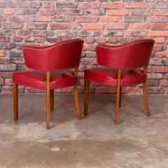Set of 6 Vintage Red Leather Barrel Back Side Chairs Danish 1950s - 921261