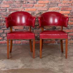 Set of 6 Vintage Red Leather Barrel Back Side Chairs Danish 1950s - 921262