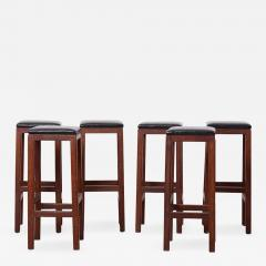 Set of 6 Wood and Leather Barstools - 1440773